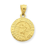 14K Gold Saint Christopher Medal Pendant