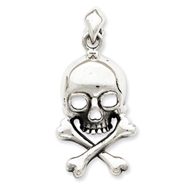 Sterling Silver Skull And Bones Pendant
