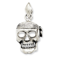 Sterling Silver Skull With Bandana Pendant
