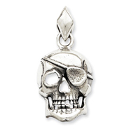 Sterling Silver Antiqued Skull With Eye Patch Pendant