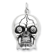 Sterling Silver Antiqued Skull Pendant