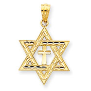 14K Gold Diamond-Cut Star of David With Cross Pendant