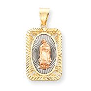 14K Two-Tone Gold Rose With Rhodium Diamond Cut Guadalupe Medal Pendant