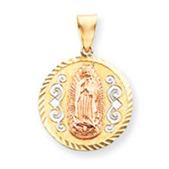 14K Two-Tone Gold Rose With Rhodium Diamond Cut Round Guadalupe Medal