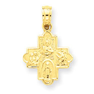 14K Gold Miniature Four Way Medal Pendant