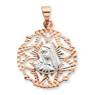 14K Two Tone Gold Our Lady of Sorrows Pendant