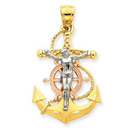 14K Tri-Color Gold Mariners Cross Pendant