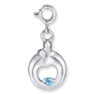 Sterling Silver Hearts Of Promise Created December Blue Zircon Birthstone Charm