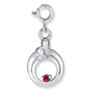 Sterling Silver Hearts Of Promise Created July Ruby Birthstone Charm