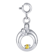 Sterling Silver Hearts Of Promise November Yellow Cubic Zirconia Birthstone Charm