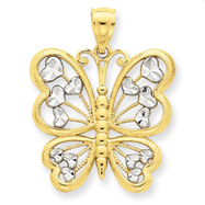 14K Gold & Rhodium Diamond Cut Butterfly Pendant