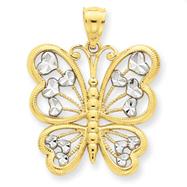 14K Gold & Rhodium Diamond Cut Butterfly Pendant