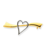 14k Gold & Rhodium Solid Satin Polished Heart Pin