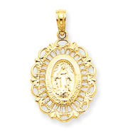 14K Gold Mary Oval Pendant