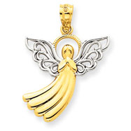 14K Gold & Rhodium Filigree Angel Pendant