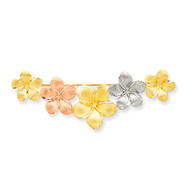 14K Tri-Color Gold Satin Diamond Cut Floral Pin