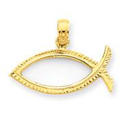 14K Gold Ichthus Fish Pendant