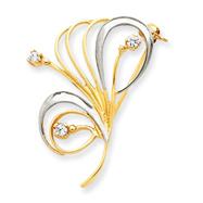 14K Gold & Rhodium Cubic Zirconia Swirl Pin