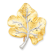 14K Gold & Rhodium Diamond Cut Leaf Pin