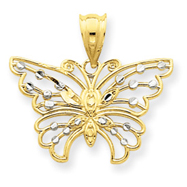 14K Gold & Rhodium Diamond-cut Butterfly Pendant