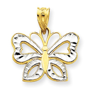 14K Gold & Rhodium Butterfly Pendant