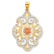 14K Two-Tone Gold & Rhodium Filigree Flower Pendant