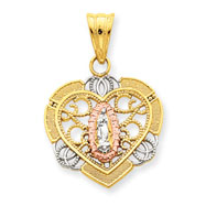 14K Gold  & Rhodium Filigree Guadalupe In Heart Pendant