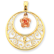 14K Two-Tone Gold Diamond Cut Rose Circle Pendant