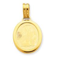 14K Gold Oval Shape Cherub Pendant