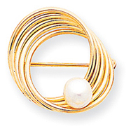 14K Gold Freshwater Cultured Pearl Pin