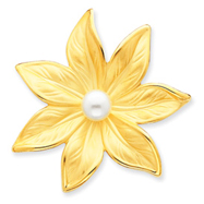 14K Gold Satin Cultured Pearl Flower Pin