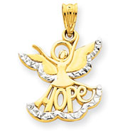 14K Gold & Rhodium Hope Angel Charm