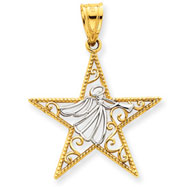 14K Gold  & Rhodium Angel Star Pendant