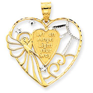 14K Gold & Rhodium Angel Heart Pendant