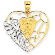 14K Gold & Rhodium Angel Heart Pendant
