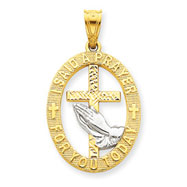 14K Gold & Rhodium Praying Hands Pendant