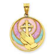 14K Gold Enameled Praying Hands Pendant