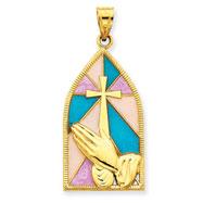 14K Gold Enamel Praying Hands Pendant