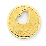 14K Gold Diamond -Cut Love Pendant