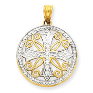 14K Gold  & Rhodium Diamond -Cut Cross Pendant