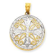 14K Gold  & Rhodium Diamond -Cut Cross Pendant