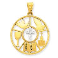 14K Gold & Rhodium Religious Circle Pendant