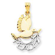 14K Gold & Rhodium Peace Dove Pendant