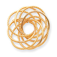 14K Gold Hollow Swirled Designer Pin