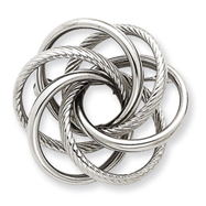 14K White Gold Swirl Pin