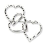 14K White Gold Hearts Pin