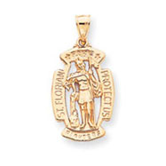 14K Gold Saint Florian Pendant
