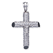 Sterling Silver Cubic Zirconia Cross Crucifixes Pendant