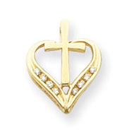 14K Gold AA Diamond Heart & Cross Pendant