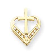 14K Gold AA Diamond Heart & Cross Pendant